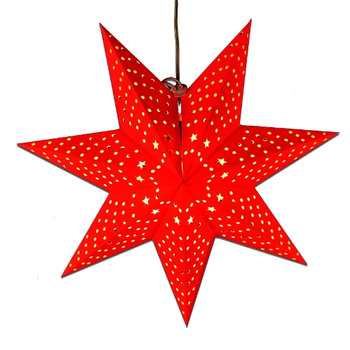 "18"" Diameter Red Star and Dot Cut out Paper Star Lantern"