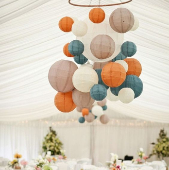 Fashion hanging round paper ball light in different size indoor use