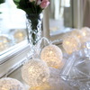 WHITE ROUND LACE FABRIC BALL LED STRING LIGHT, BATTERY OPERATED
