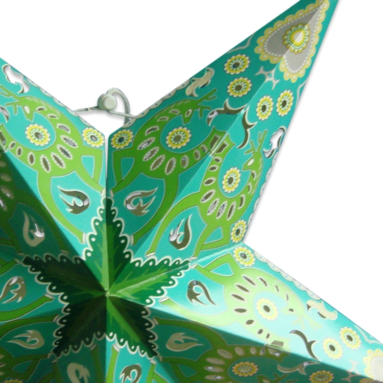 Large 35 Inch Hanging Paper Decoration Green Star Paper Lantern Lampshades for Christmas Lighting
