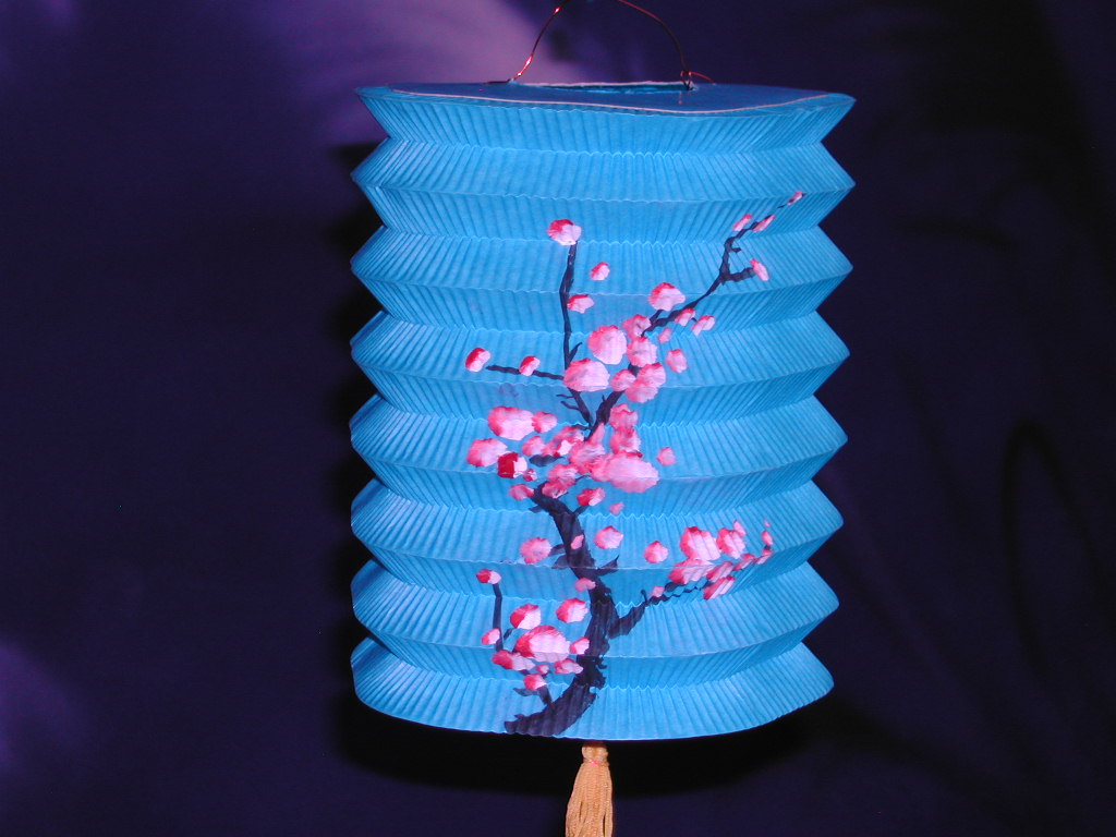 8 Inch Flora Printed Oriental Handmade Accordion Paper Lanterns for Wedding Party Home Decoration