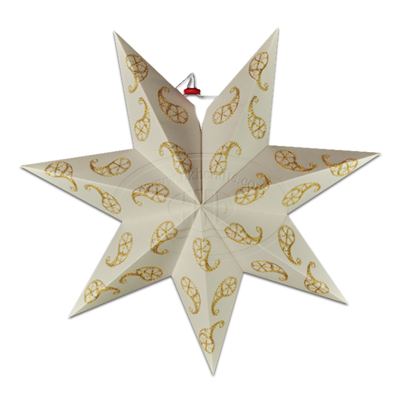 "18"" Fantastic Embroidery Paper Ornaments 7 Points Star Paper Lantern for Christmas Party Decoration"