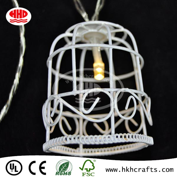 Vintage Battery Operated 10 Led Bird Cage Shaped Wind Chime Metal Light Chain