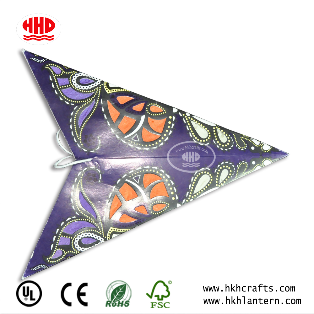 Chinese Supplier Christmas New Paper Star Lantern Pattern Origami Led Light