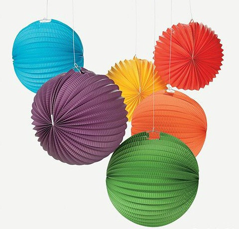 "8"" Hot Sale Paper Ornaments Watermelon Accordion Paper Lantern in Assort Color"